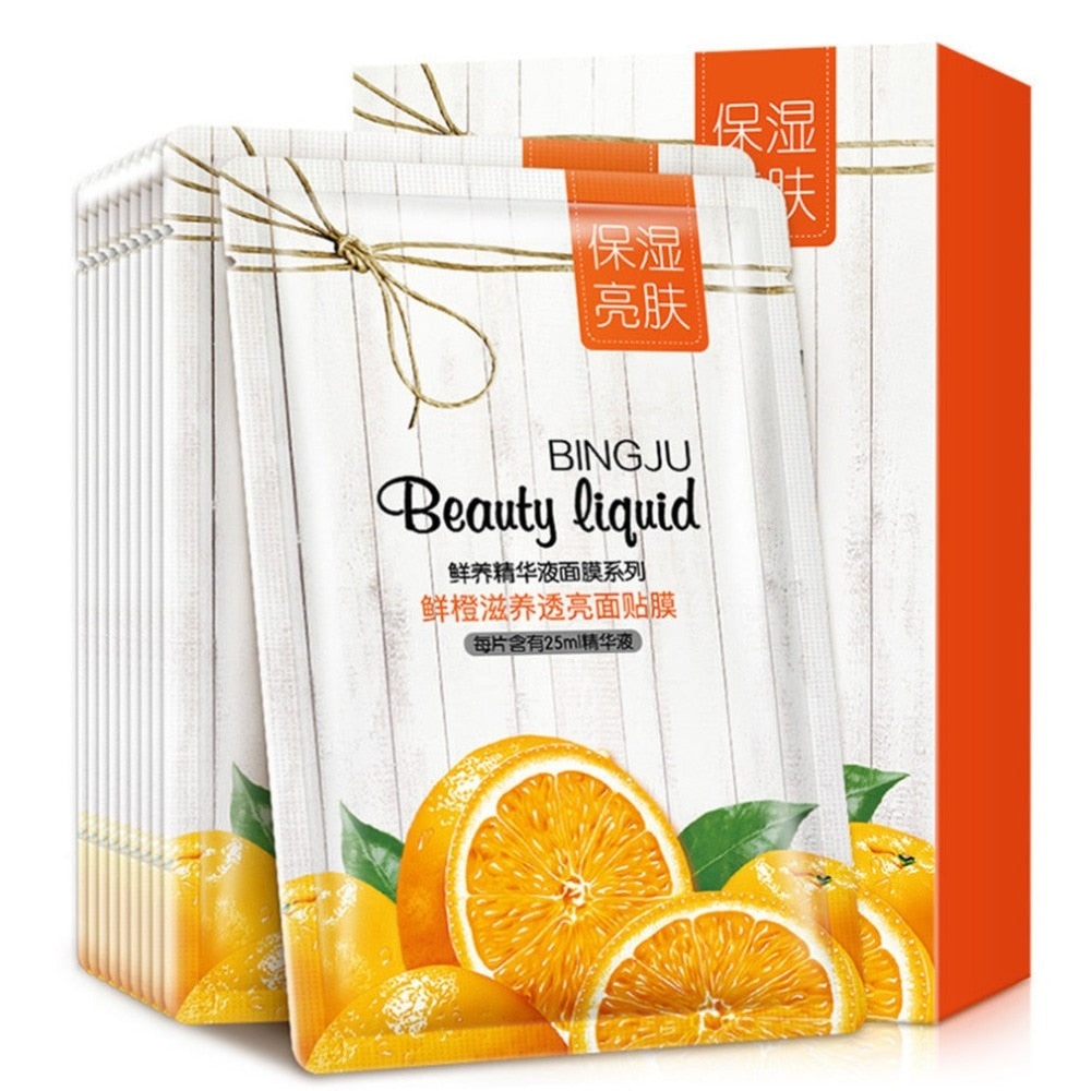 BINGJU Frush Orange Type Moisture Facial Beauty Face Mask Cleaning Mask Smooth Moisturizing Firming Skin Care Mask 10 Pieces