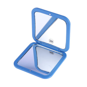 10X Magnifying Mirrors Dual Square Travel Makeup Mirror Handheld Compact Mirror for Travel(Blue)