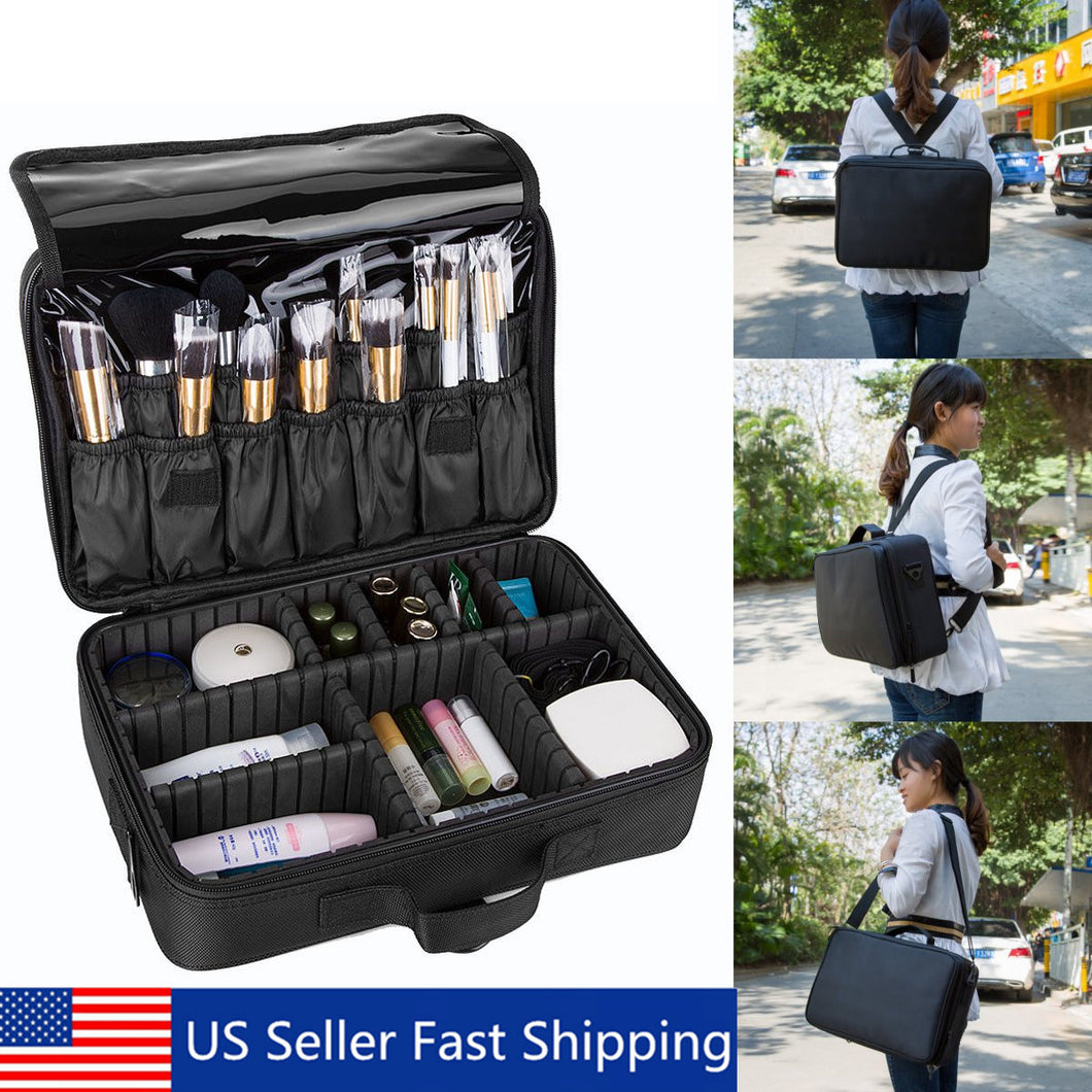 13'' Professional Large Capacity Storage Toiletries Makeup Bag Cosmetic Case US