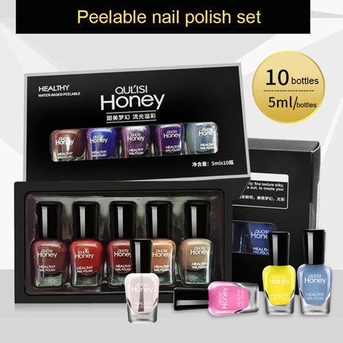 10 Pcs/Set Nail Polish Pure Color Soak Off Nail Gel Art Lacquer Semi Permanent Manuicure Varnish Nail Beauty Cosmetic kit FM88