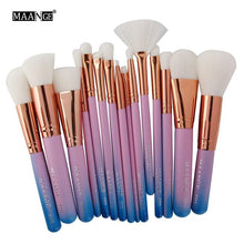 Load image into Gallery viewer, MAANGE 15pcs/set Makeup Brush Sets Blush Foundation Powder Brush Cosmetic Beauty Tool Gradient Blue/Green