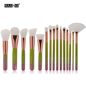 MAANGE 15pcs/set Makeup Brush Sets Blush Foundation Powder Brush Cosmetic Beauty Tool Gradient Blue/Green
