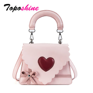 Toposhine Smart Cute Small Flap Sweet Color PU Leather Girl Handbag Red Heart Beauty Lacework And Bow Makeup bag Women Shoulder