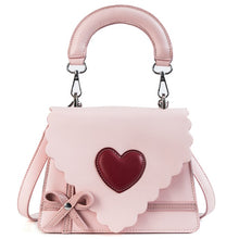 Load image into Gallery viewer, Toposhine Smart Cute Small Flap Sweet Color PU Leather Girl Handbag Red Heart Beauty Lacework And Bow Makeup bag Women Shoulder