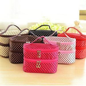 Handheld Women's Girls Polka Dotted Two-layer Cosmetic Makeup Bag Zipper Pouch Toiletry Bag Organizer