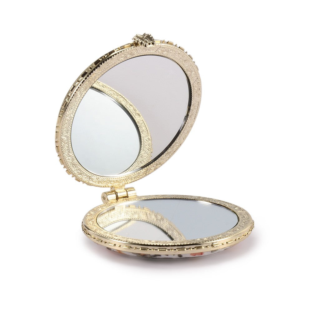 1pc Mini Retro Makeup Mirror Makeup Compact Pocket Flower Mirror