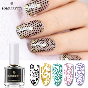 BORN PRETTY Black White Nail Stamping Polish Lacquer Gold Silver Nail Art Plate Stamp Oil White Night Stamping Series