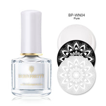 Load image into Gallery viewer, BORN PRETTY Black White Nail Stamping Polish Lacquer Gold Silver Nail Art Plate Stamp Oil White Night Stamping Series