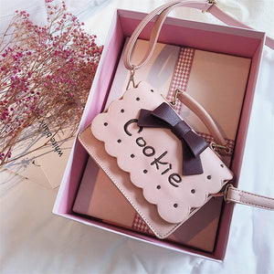 Toposhine Autumn Sweet Color PU Leather Cookie Flap Beauty Lacework Cute Bow Girl Mini Handbag Honey Women Makeup Bags
