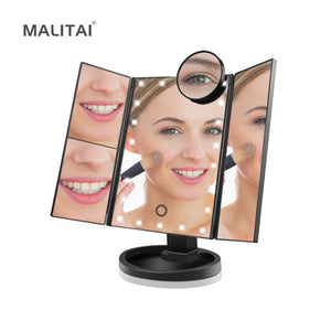 Touch Sensor 22 LED Vanity Mirror light Bulb Dimmable Makeup lamp 1X/2X/3X/10X Magnification Makeup Mirror Dressing Table lamp