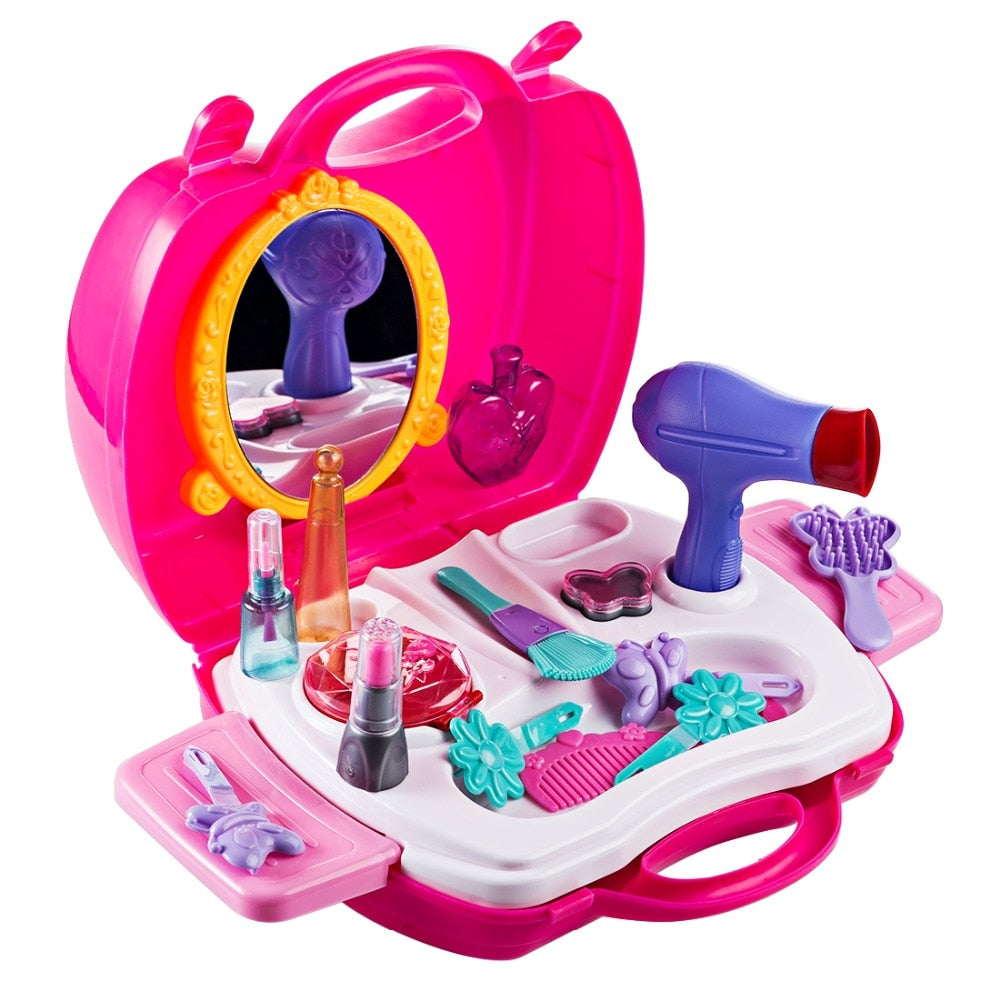 Surwish Kitchen Pretend & Play ABS Cosmetic Case Simulation Makeup Tools Kit Storage Box Toys for Children