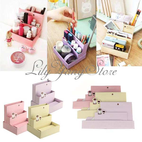 New DIY Paper Board Storage Box Desk Decor Stationery Organizer Makeup Cosmetic