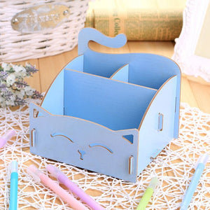hoomall  Cosmetic Organizer Wood Storage Wooden Storage Box Jewelry Container Makeup Organizer Case Handmade DIY Assembly Boxes