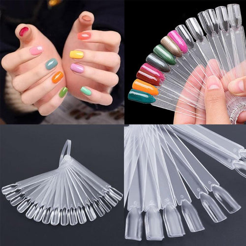 32Pcs False Nail Display Fan Board Nail Art Tips Polish UV Gel Decoration Practice Round Display Foldable Black Clear Color