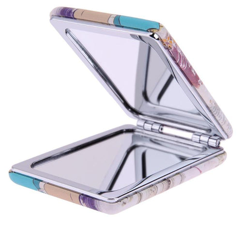 Mini Rectangle Metal Compact Makeup Mirror Foldable Cosmetic Beauty Mirror