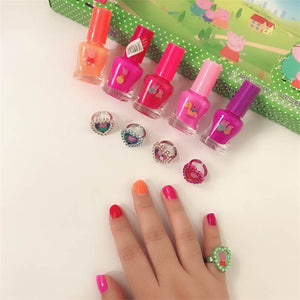 5pcs/lot Disney can tear nail polish Color children's finger makeup toys watery tearable transparent suit lasting tasteless