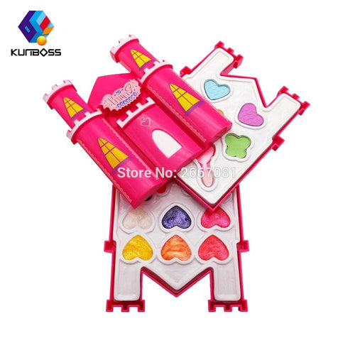 2018 Children's Makeup Cosmetic box castle shaped Safety pretend play makeup set  Non-toxic for kids girl