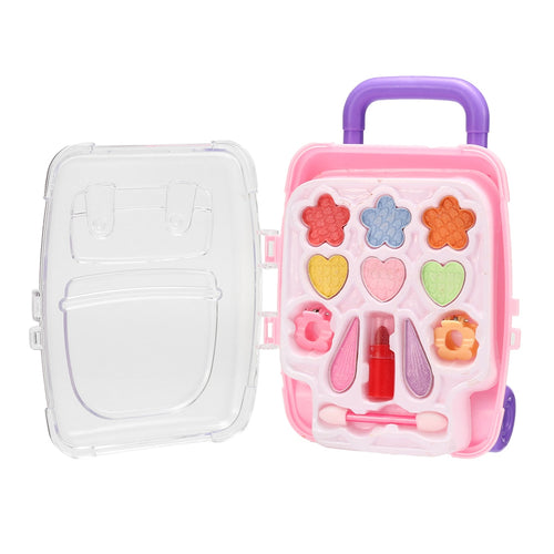 Children's Makeup Princess Cosmetic Eyeshadow Lipstick Play Kit Children Makeup Toys Set With Handy Suitcase Kids Beauty Gift New
