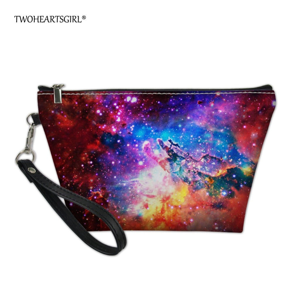 83fd0301f6a3 Twoheartsgirl Fancy Women's Galaxy Star Space Cosmetic Bag Case for Make Up  Organizer Leather Ladies Travel Makeup Bag