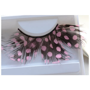 1Pairs/Box Pink&Black Soft Long Feather False Eyelashes Eye Lashes Fashion Women Fancy Makeup For Party Club