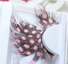Load image into Gallery viewer, 1Pairs/Box Pink&Black Soft Long Feather False Eyelashes Eye Lashes Fashion Women Fancy Makeup For Party Club