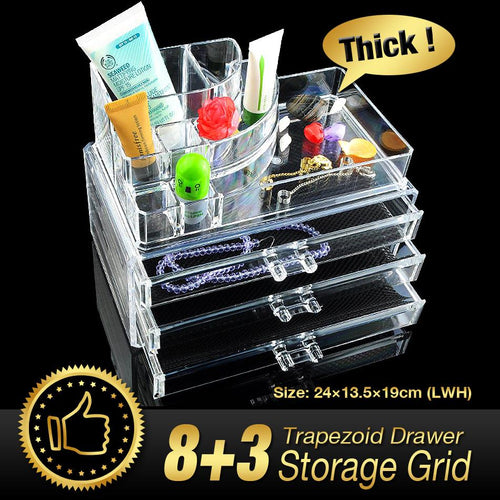 Cheap+ Acrylic Makeup Organizer cosmetic organizer acrylic makeup case 3 drawers storage box
