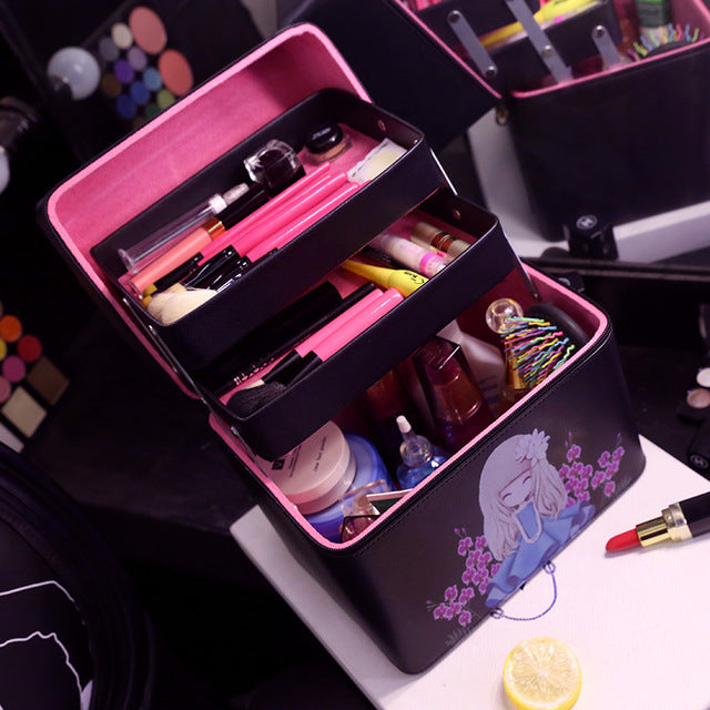 Three Layers Makeup Storage box Organizer Cosmetic
