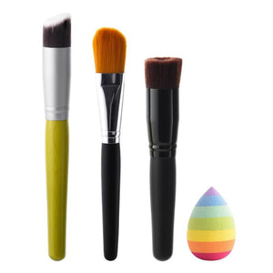 4 pcs/set Makeup Brushes Set Blending Powder Foundation Brush Sponge Powder Puff Beauty Cosmetic Brushes Make Up Tool Kits