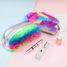 Load image into Gallery viewer, Drop Ship Women Student Faux Fur Laser Zipper Clutch Bag Makeup Cosmetic Pouch Pen Bag Best gifts for girlfriend wife loverZ1016