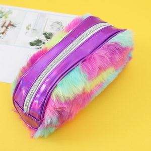 Drop Ship Women Student Faux Fur Laser Zipper Clutch Bag Makeup Cosmetic Pouch Pen Bag Best gifts for girlfriend wife loverZ1016