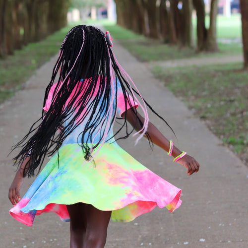 Rainbow Tie Dye Twirl Dress