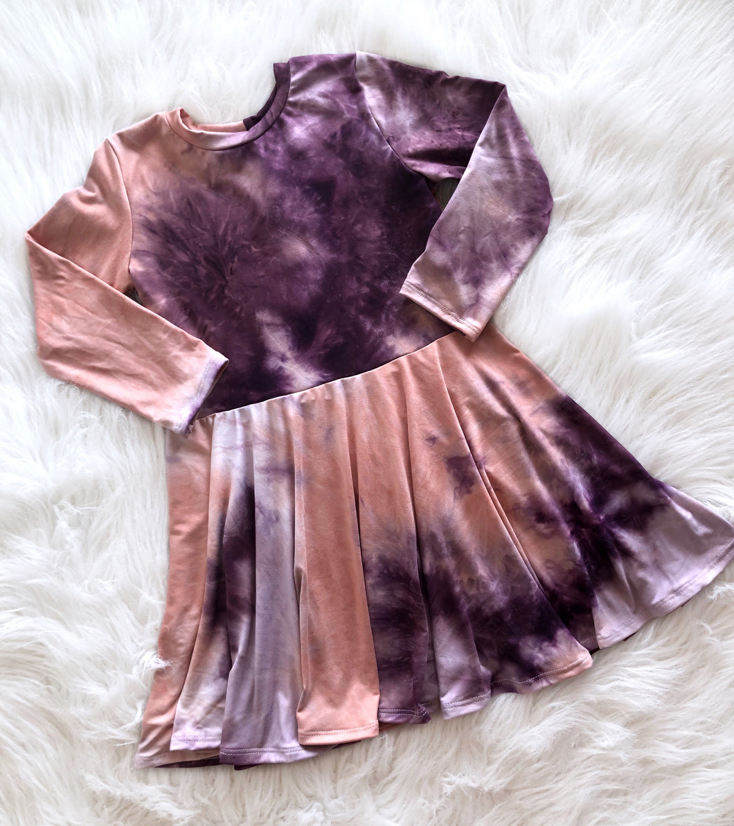 Eggplant Tie Dye Twirl Dress