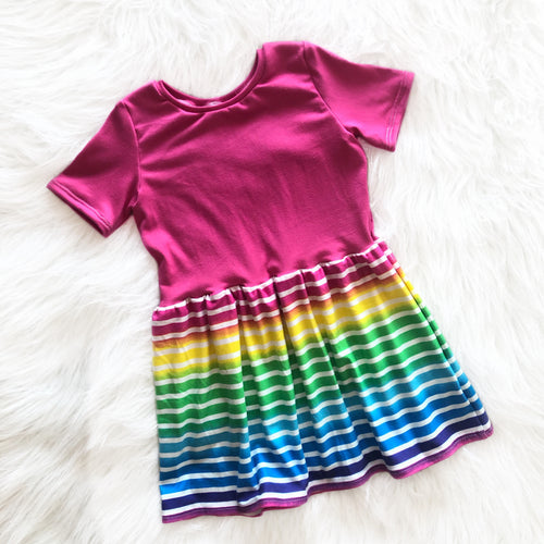 Neon Rainbow Striped Maxi Dress