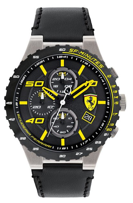 Ferrari Men's Chronograph Speciale Evo Chrono Black Leather Strap Watch 45mm
