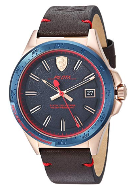 Ferrari Men's Pilota Quartz Stainless Steel and Leather Casual Watch