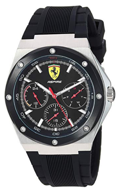 Ferrari Men's 'Aspire' Quartz Stainless Steel and 100 Silicone Watch