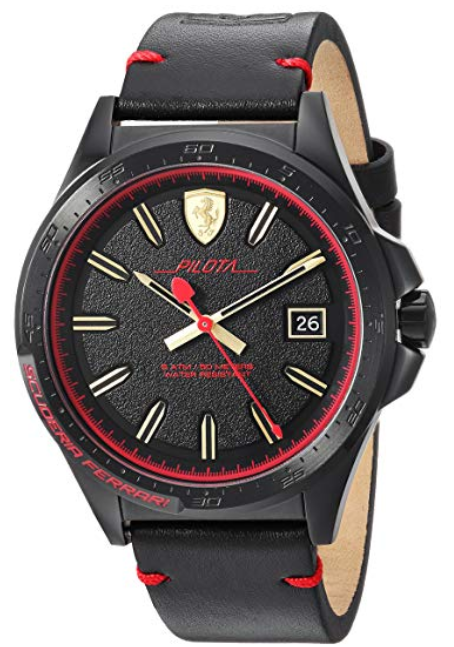 Ferrari Men's 'Pilota' Quartz Stainless Steel and Leather Casual Watch