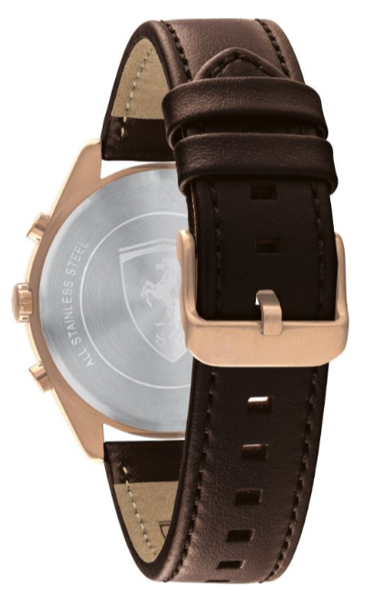 Ferrari Men's 'Abetone' Quartz Gold and Leather Casual Watch