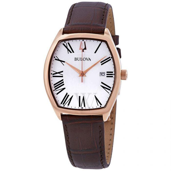 Bulova Men's 'Classic' Quartz Stainless Steel and Leather Dress 97B173 Watch
