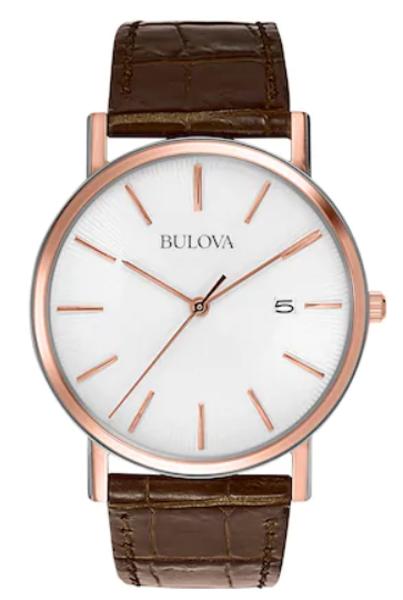 Bulova Mens White Leather Strap, Pearlized Patterned Dial 98H51 Watch