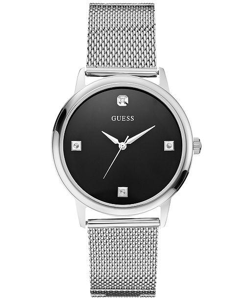 GUESS Men's Diamond Stainless Steel Mesh Bracelet U0280G1
