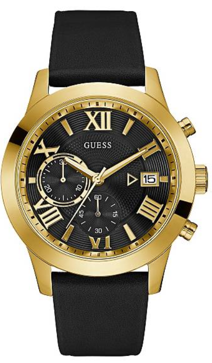 GUESS Black Leather and Gold-Tone U0669G4 Watch