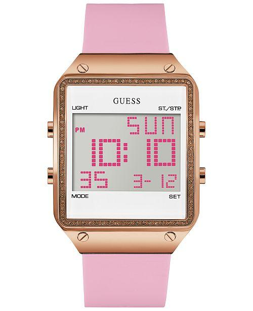 GUESS U0700L2 Women's Pink Silicone Strap Watch