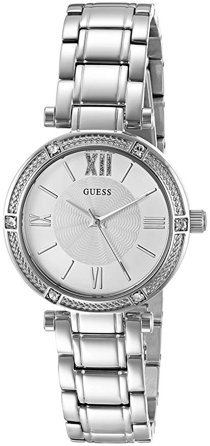 GUESS Women's Dressy U0767L3 Watch with White Dial and Crystal-Accented Bezel