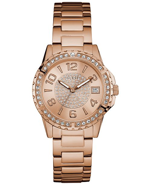 GUESS Women's Crystal Accented Rose Gold-Tone Stainless Steel Bracelet U0779L3 Watch