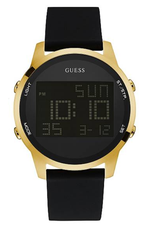 GUESS Black and Gold-Tone Digital Chronograph U0787G1 Watch