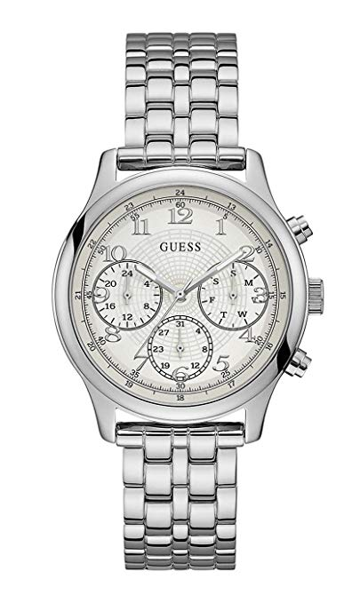GUESS Women's Silver Stainless-Steel Japanese Quartz Fashion U1018L1 Watch