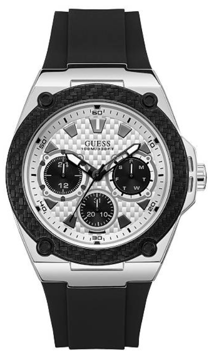 GUESS Black and Silver-Tone Sporty U1049G3 Watch