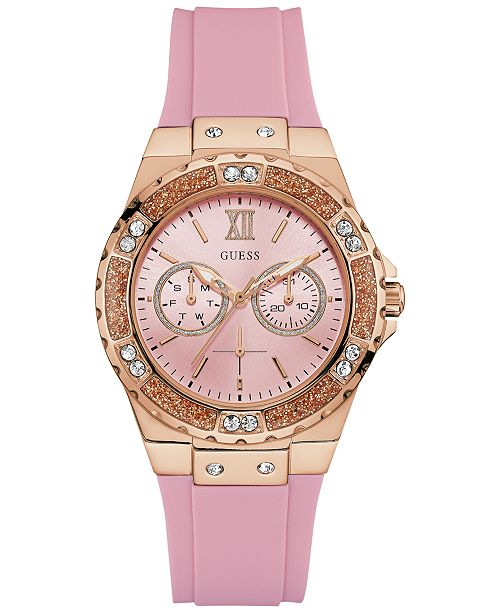 GUESS Women's Pink Silicon Watch U1053L3