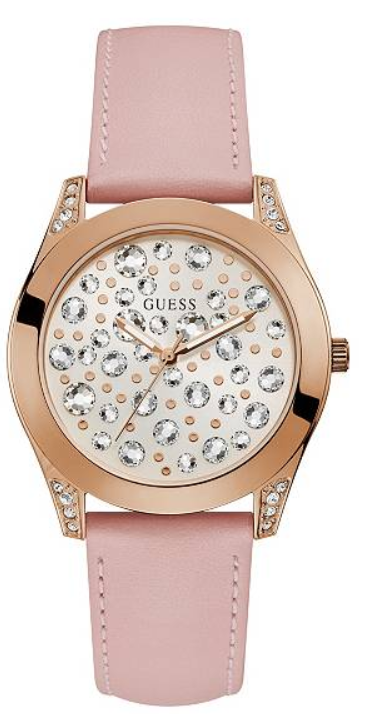 GUESS U1065L1 Rose Gold-Tone and Pink Analog Watch